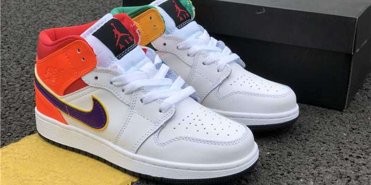 2020 Air Jordan 1s White Court Purple Teal 554725-128 Girls Size For Sale